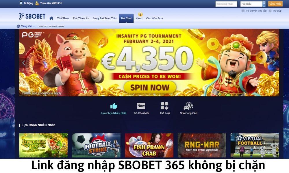 Link đăng nhập SBOBET 365 không bị chặn